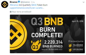 Binance отчиталась об успешном сжигании Binance Coin